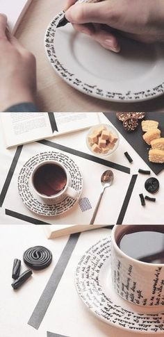 DIY hand-script decoration for your tea set. - DIY hand-script decoration for your tea set. DIY hand-script decoration for your tea set. Homemade Gifts, Diy Gifts, Diy Becher, Diy Cadeau, Diy Mugs, Creation Deco, Ideias Diy, Crafty Craft, Diy Projects To Try