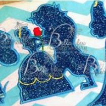 Princess and Beast Silhouette Applique Embroidery Designs Design Beauty