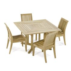 5 pc Laguna Pyramid Dining Set includes the versatile 48 inch Pyramid Square Table. Crafted with Grade A Teak harvested from sustainable plantations in Indonesia. Westminster Teak, Modern Lounge, Modern Patio, Teak Outdoor Furniture, Dining Set, Furniture Makeover, Side Chairs, Furniture Design, Patio Sets