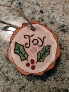 Rustic Joy wood burned Christmas ornament - natural wood