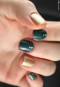 ▲ ▼ ▲ Coco's nails ▲ ▼ ▲: From teal and gold with Monop 'make up