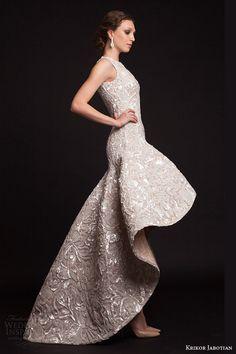 krikor jabotian bridal spring 2015 sleeveless high to low drop waist wedding dress -- Krikor Jabotian Spring 2015 Dresses
