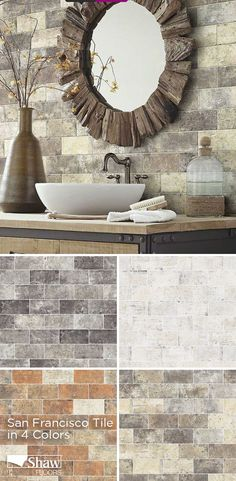A beautiful brick visual, San Francisco porcelain tile from Shaw Floors looks like old reclaimed brick that has been recycled. Choose from this tile's 4 unique colors to fit your home's style perfectly. This tile is ideal for a kitchen back splash or bathroom.