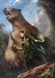 f High Elf Druid Leather Staff w Giant Bear forest hills mountains Nissa Revane - Planeswalker - MTG Fantasy Warrior, Fantasy Rpg, Medieval Fantasy, Fantasy Artwork, Fantasy World, Fantasy Magician, Elfa, Character Portraits, Character Art