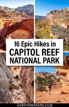 Best hikes in Capitol Reef National Park: Cassidy Arch, Hickman Bridge, Chimney Rock, Navajo Knobs, Rim Overlook, Grand Wash, Headquarters Canyon, Cathedrals Trail, Cohab Canyon, and more.