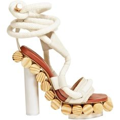 Pedro Lourenco Women's x Alexandre Birman Wooden Wrap Sandals found on Polyvore