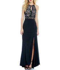 Morgan & Co. Glitter Lace Keyhole Bodice Long Dress #Dillards