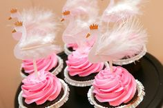 White and Gold Swan Cupcake Toppers with by LemonSugarStudios