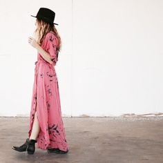 flowy maxi dress and comfy black boots