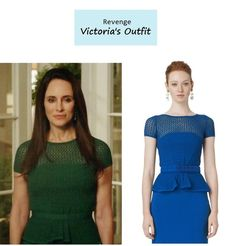 "On the blog: Victoria Grayson's (Madeleine Stowe) diamond knit peplum dress in emerald | Revenge - ""Dissolution"" (Ep. 306) #tvstyle #tvfashion #outfits #fashion"