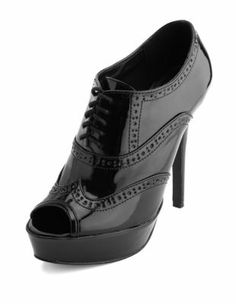patent lace-up spectator bootie