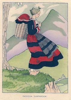 Grabado Pasiega (Santander)Ediciones Ortiz CH. 4995 1953 ilustra mairata todocoleccion 155 x 120 mm. Cantabria Folk Costume, Costumes, Folklore, Abs, Painting, Inspiration, Tatoo, Antique Photos, Printmaking