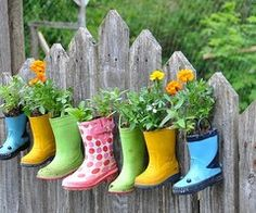 Cute way to decorate your fence and add some colour to your garden.