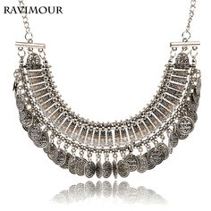 RAVIMOUR Bohemian Gypsy Statement Necklaces & Pendants Vintage Gold/Silver Coins Jewelry Maxi Choker Collier Femme for Women