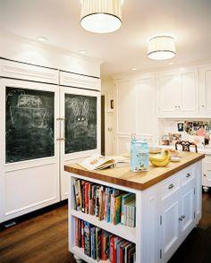 kitchen island with bookshelf