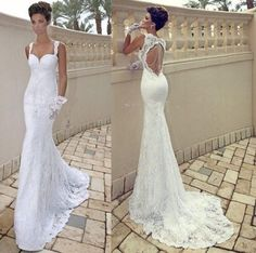 Sexy white ivory backless mermaid lace beach wedding dress bridal Gown Free Ship