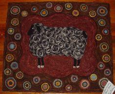 Baa, Baa Black Sheep  Hooked by Judy Amundson. Pattern from Black Sheep Wool Designs.