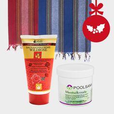 """Unser Geschenktipp für Sauna-Pärchen: zwei verschiedenfarbige, traditionelle Sauna-Pestemaltücher mit Saunahonigcreme """"Wildrose"""" und Mentholkristalle für den besonderen Aufguss. #sauna #weihnacht #geschenk #paar #pärchen #zwei"""