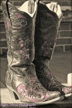 Always comfy in my cowboy boots - my husband gave me these boots minus the pink for Christmas this year.  Love them!