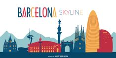 Flat illustration featuring Barcelona skyline with silhouettes of its classic buildings and cultural landmarks. Suitable for travel agencies, banners,