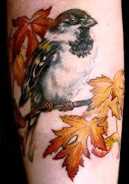sparrow tattoo and fall foliage