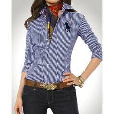 Ralph Lauren Vertical Stripes Mesh Long Sleeved Blue http://www.ralph-laurenoutlet.com/