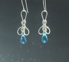 Turquoise blue silver earrings sterling silver jewelry