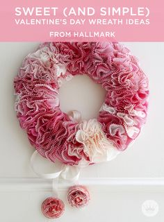 Sweet (and simple) DIY Valentine's Day wreath ideas, made from simple things like muffin paper liners or scraps of ribbon. They will add enough Valentine's Day love to your front door to get you through the last chilly month of winter. Enjoy!