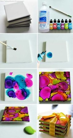 Alcohol ink coasters. Just plain while ceramic tiles, rubbing alcohol and alcohol ink from any craft store. Makes a great gift!