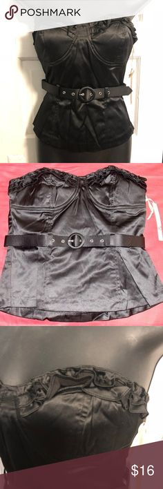 Black Strapless Sateen Ruffled Corset Top - S/M/L This strapless sateen corset top from Have & Have is a modern pin-up interpretation.  This top features a ruffled bust, coordinating belt, partial elastic back, and back zipper closure. Black. 55% Cotton/42% Polyester/3% Spandex. Available in Small (28 in. chest, 26 in. waist), Medium (30 in. chest, 28 in. waist) and Large (32 in. chest, 30 in. waist). Is 15 inches long from top of bust to bottom hem. New with tags. Have & Have Tops
