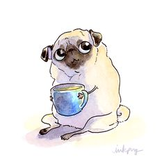 "Receive fantastic tips on ""pugs"". They are actually offered for you on our website. Animals And Pets, Cute Animals, Pug Cartoon, Pugs And Kisses, Pug Art, Dog Illustration, Pug Puppies, Pug Love, Cute Dogs"