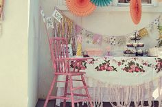 dessert by jjagner, via Flickr    1st birthday ruffles fabric bunting pink shabby chic vintage highchair