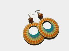 Colorful Mandala earrings Boho Style Earrings Wooden Earrings Modern Earrings Statement jewelry Handmade Bohemian Jewelry by Neda by NedaHandmadeJewelry on Etsy Wooden Earrings, Earrings Handmade, Handmade Jewelry, Handmade Gifts, As You Like, Just For You, Selling Handmade Items, Jewelry Drawing, Fabric Gifts