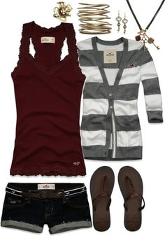 LOVE mixing burgundy with gray! Prefer silver toned jewelry. And shorts are WAY too short!