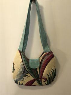 Handmade vintage 1940s tropical palm barkcloth handbag by Linensandlooms on Etsy