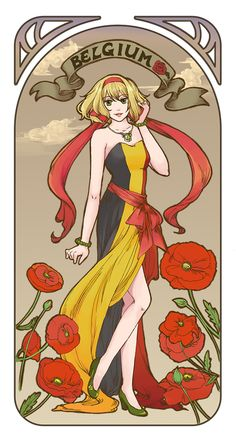 Anouk (head-canon name for Belgium) - Art by 藍鵲. I love Belgium, she's so cool :)