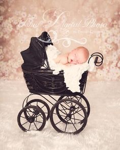 Antique Baby Carriage With Flowers Background - Digital background Newborn Photography Props download