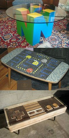 Video Games Tables! Want! It is now my goal to make this http://amzn.to/2t2xFwN
