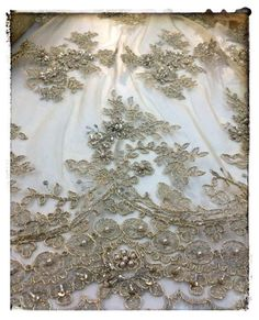 Embroidered lace, chic dress lace, haute couture, gold lace, Sanmartin, fabrics
