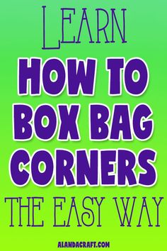 How to Box a Corner on a Tote Bag Tutorial Learn how to easily box bag corners. Full step-by-step video tutorial. More free bag tutorials at alandacra Easy Sewing Projects, Sewing Projects For Beginners, Sewing Hacks, Sewing Tutorials, Bag Tutorials, Sewing Tips, Sewing Crafts, Box Bag, Pouch Bag