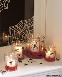 Place small votives inside larger ones. Guest Bathroom for that Halloween party