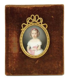 """Bread and Roses - Auction - July 26, 2016: Lot #89 Fine 19th Century Miniature Painting """"Little Girl with Doll"""" by Seibert, 1862"""