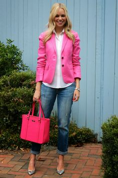 Boyfriend jeans, white shirt, pink jacket, and metallic pumps. So cute.