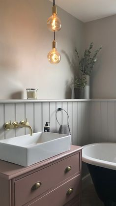 pink bathroom ourlittlevictorianproject have used the Tala Voronoi I bulb to complement this soft and dusty pink bathroom. Get inspired with our January round-up Pink Bathroom Decor, Small Bathroom Tiles, Upstairs Bathrooms, Downstairs Bathroom, Grey Bathrooms, Beautiful Bathrooms, Bathroom Interior Design, Bathroom Renos, Ikea Bathroom