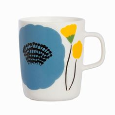Your coffee will taste extra fresh when you drink from this darling mug adorned with budding blossoms - Marimekko Ahonlaita Multicolor Mug