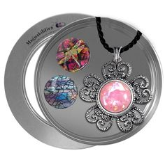 """18"""" Blossom Into Spring Gift Set (Ant Silver Blossom, 18"""" Black Twisted Satin, 3 Inserts, Small Tin) Magnabilities"""