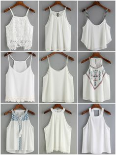Classy - Lovely — thestyle-addict: Left To Right Click the link to. Pretty Outfits, Beautiful Outfits, Cute Outfits, Cute Fashion, Fashion Outfits, Womens Fashion, Miss Mode, Crochet Cami Tops, White Cami Tops