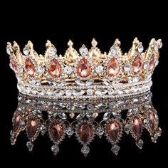 Baroque Crystal Queen Crown Tiara Headband Gold Rhinestone Full Pageant Hair in Clothing, Shoes & Accessories, Wedding & Formal Occasion, Bridal Accessories Pageant Crowns, Tiaras And Crowns, Pageant Hair, Bridal Crown, Bridal Tiara, Bridal Headpieces, Wedding Jewelry, Royal Jewels, Crown Jewels