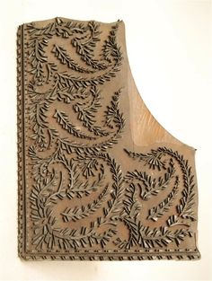 Paisley Fabric/Wallpaper Corner Printing Block. Carved Wood. Germany (Attributed). Circa Mid to Late-19th Century.