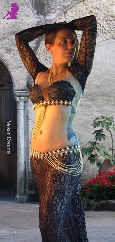 """Belly dance costume """"Layali"""", preview. By Makari Dreams Belly Dance Costumes."""